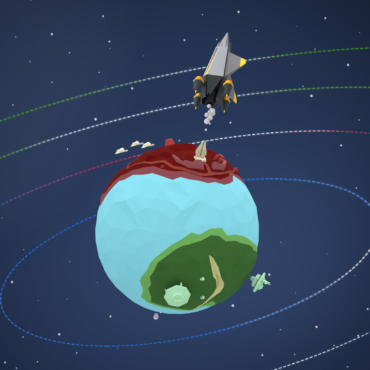 Planet with Spaceship